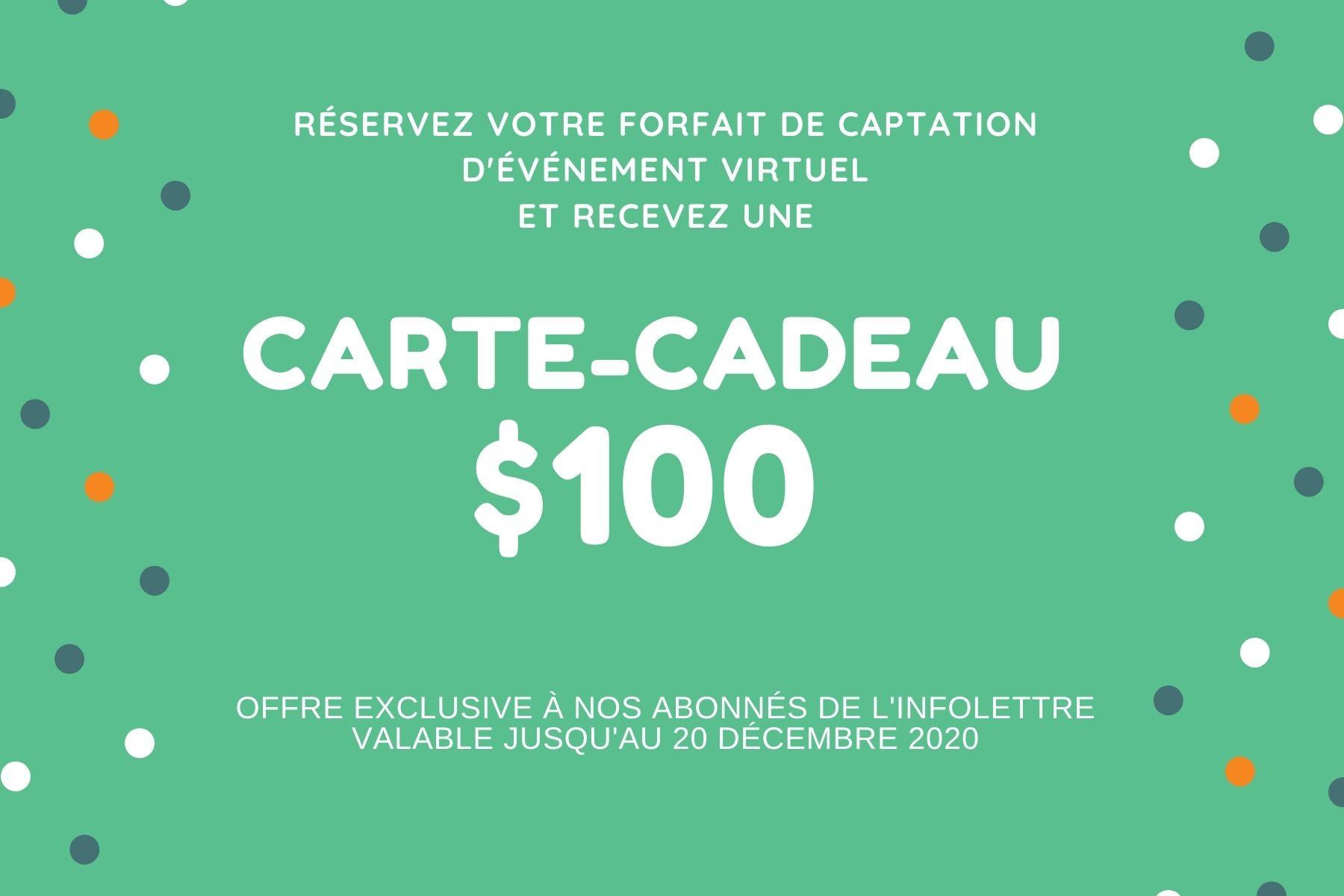 Carte-cadeau 100$ promo novembre 2020